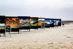 Ausgestellte Fotos am Strand von Zingst